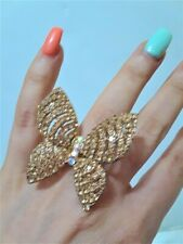 Oversize Cocktail Statement Prom Ring Adjustable Party Crystal Gold Butterfly