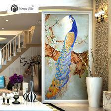 Blue Novelty Peacock Mosaic Wall Art Tiles Wallpaper Interior Wall&Hotel Lobby