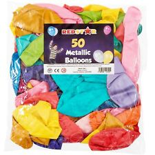 50 x LARGE BALLOONS METALLIC PARTY WEDDING DECORATION MULTI COLOURED LATEX SHINY