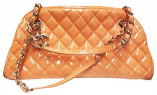 Authentic Chanel Womens Peach Tone Patent Leather Hand Bag With Diamond Pattern