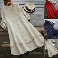 Women Casual Loose Linen Solid Button Top Full Sleeve Long Shirt Blouse Tops