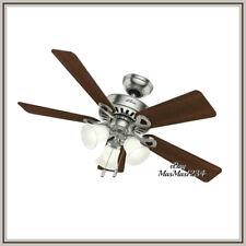"Hunter 44"" Ceiling Fan Ridgefield Brushed Nickel with Light Kit Reversible NEW"