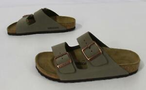 Birkenstock Unisex Arizona Birkibuc Slip-On Sandals SC4 Stone Size M:6 W:8