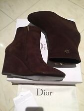 NEW Christian Dior Ladies Brown Suede Wedge Day Lowboots 8.5cm - Size 40 EU