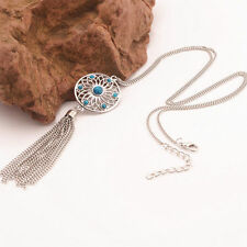 Long Chain Silver Turquoise Bohemian Dream Catcher Round Pendant Necklace