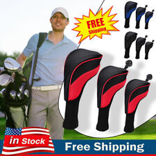 3 PACK Golf Club Head Covers Set Driver 1 3 5 Fairway Woods Headcovers Long Neck