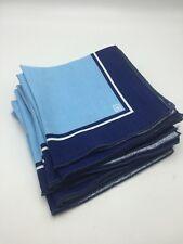 """8 Anne Klein Napkins BLUE Cotton Square 16"""" Dining Retro Vintage Table Linen"""
