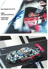 2 Autogramme Jan-Erik Slooten - Iron Force - Porsche 991 GT3 R - ADAC GT Masters