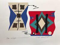 Modernist Serigraph Print Atsuko Okamoto Contemporary Geometric Abstract Pop Art