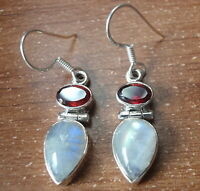 Faceted Garnet and Moonstone Teardrop 925 Sterling Silver Dangle Earrings r442j
