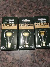 60w vintage filament light bulb B22 job lot x 3