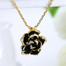 Classic 18K Yellow Gold Filled CZ Black Oil Drip Flower Pendant Chain Necklace