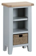 MODERN GREY PAINTED SMALL NARROW BOOKCASE / GREY SHELVING UNIT / BOOKSHELF