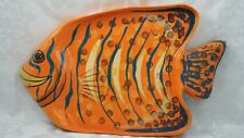 Pier 1 Orange Blue Yellow Tropical Fish Wall Hanging / Serving Platter 109-261