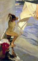 Hand painted Oil painting impressionism Spanish Before the Bath girl by beach