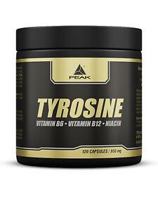 Peak Tyrosin (10,42€/100g) Aminosäure 120 Kapseln a 950mg, L-Tyrosin