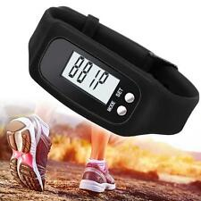 Digital Podometro contador de la caloria correr paso a pie reloj pulsera Negro
