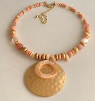 Vintage Gold Tone MOP Round Pendant Pink & Clear Lucite Bead Wire Wrap Necklace