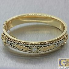 1930s Antique Art Deco 14k Solid Yellow Gold Diamond Leaf Bangle Bracelet
