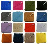 Womens Italian Suede Leather Cross Body Handbag, Small Shoulder Bag in 18 Colors