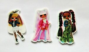 3 Cute LOL Dolls resin flatback embellishment, 40mm for cakes, crafts & bows