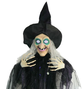 """Life Size 72"""" ANIMATED HANGING WITCH Moving Mouth Eyes Halloween Prop Decoration"""