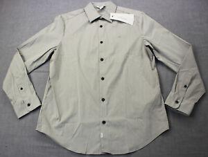 Calvin Klein Logo Mens Gray Wrinkle Free Wicking Stretch Dress Shirt NWT S  $80