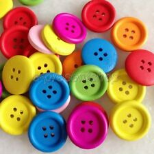 100pcs Mixed Color Round 4-Holes Wooden Sewing Buttons Scrapbooking 20mm Bnk212