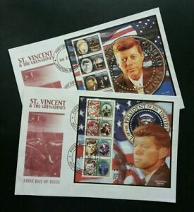 [SJ] St. Vincent 40th Anniv Of The Death Of John F. Kennedy 2003 (FDC pair)