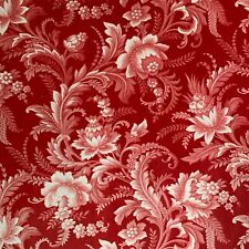Rococo Fabric Red & whit Antique  floral design linen cotton c1850 toile