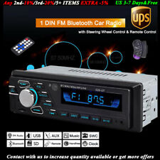 1 Din Car Radio+Steering Control Audio FM SD/USB/AUX MP3 Player Stereo Bluetooth