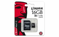 MICRO SD Kingston 16 GB SDC10G2/16GB Classe 10 HC-I 45MB/s + Adattatore SD CARD