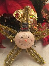 """Vintage Style Snowman Christmas Ornament Pipe Cleaner Gold Star Mica Top Hat 4"""""""
