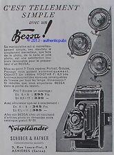 PUBLICITE VOIGTLANDER APPAREIL PHOTO BESSA SCHOBER & HAFNER DE 1932 FRENCH AD