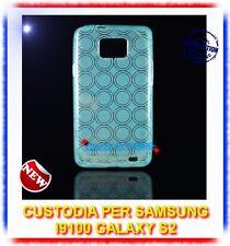 Pellicola+Custodia CERCHI AZZURRO per Samsung I9100 galaxy s2 plus I9105