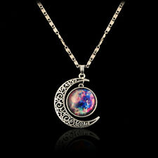 Cute Women Star Moon Moonstone Constellation Crescent Time Gem Pendant Necklace