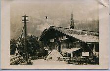 Switzerland Gsteig bei Gstaad - Hotel Baren, old real photo sepia postcard