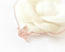 18k Rose Gold Plate Dorigami Paper Crane Necklace Animal Jewelry Chrismas Gift
