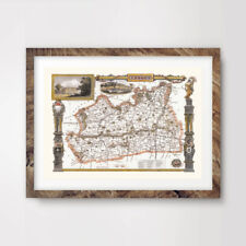 SURREY VINTAGE MAP ART PRINT Poster Hotel Room County Antique Decor Wall Picture