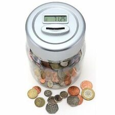 NEW ELECTRONIC LCD MONEY COUNTING JAR BOX DIGITAL PIGGY BANK ACCEPTS New £1 Coin