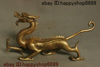 """12"""" Chinese Copper Brass Feng shui 12 Zodiac Year Dragon God Loong Beast Statue"""