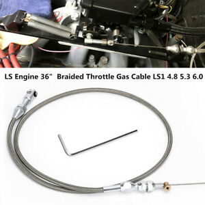 """For LS Engine 36"""" Stainless Steel Braided Throttle Gas Cable LS1 4.8 5.3 6.0 Kit"""