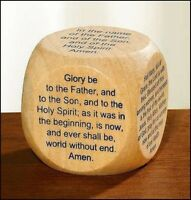 My Favorite Prayers Wooden Wood Prayer Cube for New Catholic Adults or Children