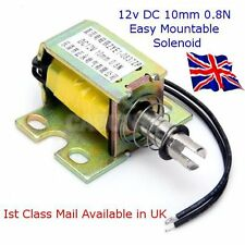 DC 12V Open Frame Electromagnet Solenoid -Easy Mountable- 0.8N 10mm Avail in UK