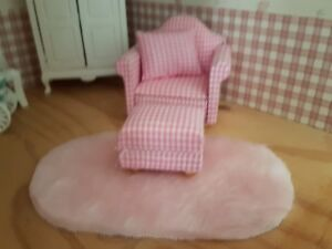 Miniature dolls house accessories Pink Fluffy Floor Rug 1/12th scale Faux Fur