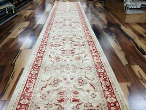 2.7 x 13.7  Beige Pakistan Peshavar Hand Knotted Wool Oriental Rug Runner