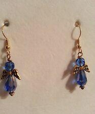 "1.85""Handmade Medium Blue, Gold Filled Dangling Angel Earrings"