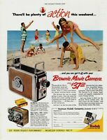 1955 ORIGINAL VINTAGE KODAK BROWNIE MOVIE CAMERA MAGAZINE AD