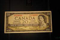 1954 $20 Dollar Bank of Canada Banknote EW5234863 F-VF