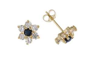 Sapphire Earrings Cluster Stud Solid 9 Carat Yellow Gold Studs Natural Stone
